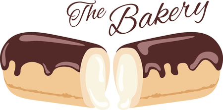 eclair: What a cool design of a chocolate eclair. This would be great on an apron or tee.