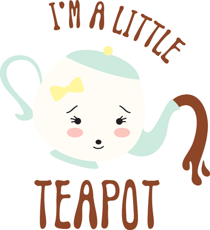 What a cool design of a cute little teapot. This would be great on a kitchen apron or little girl's shirt. Illustration