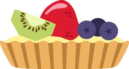 얼마나 맛있는 과일 타트의 멋진 디자인. 이것은 주방 앞치마 또는 어린 소녀의 셔츠에 좋은 것입니다. 스톡 콘텐츠 - 53645504