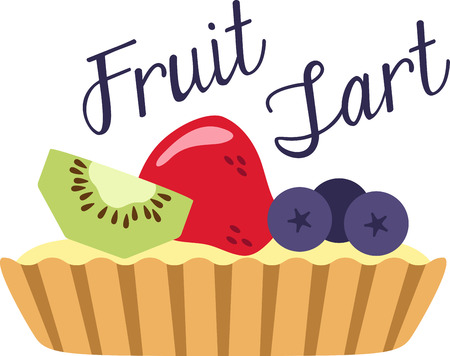 What a cool design of a yummy fruit tart. This would be great on a kitchen apron or little girls shirt.