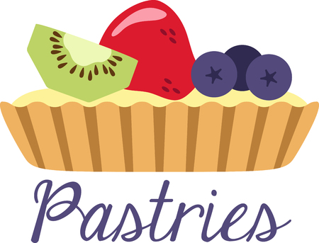 맛있는 과일 타르트의 멋진 디자인. 이것은 부엌 앞치마 또는 어린 소녀의 셔츠에 좋을 것입니다. 스톡 콘텐츠 - 53645507