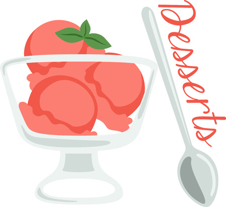 sorbet: What a cool design of a yummy sorbet dessert. This would be great on a kitchen apron or little girls shirt. Illustration