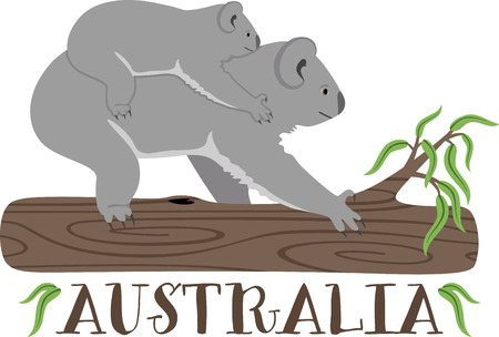 aussie: Put the cute in kids� embroidery with the popular koala bear motif on bodysuits, layettes, t-shirts, hats, bibs & more!