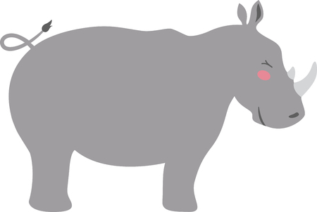 fascinated: Kids are always fascinated by wildlife.  Let this little rhino hop directly onto childrens blankets and quilts.
