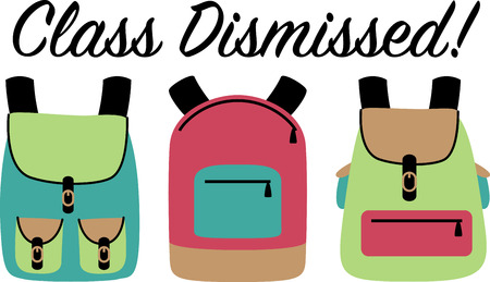 back packs: Always a back to school staple, this design is perfect on pencil bags, back packs, t-shirts and more! Illustration