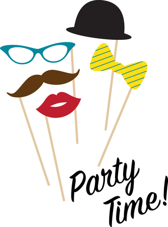 disguise: These seductive props provide a subtle disguise, an unforgettable look and a statement of elegance & fun to your party!  Celebrate with this design on your fun projects! Illustration