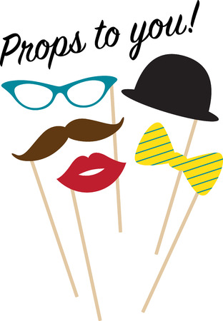 unforgettable: These seductive props provide a subtle disguise, an unforgettable look and a statement of elegance & fun to your party!  Celebrate with this design on your fun projects! Illustration
