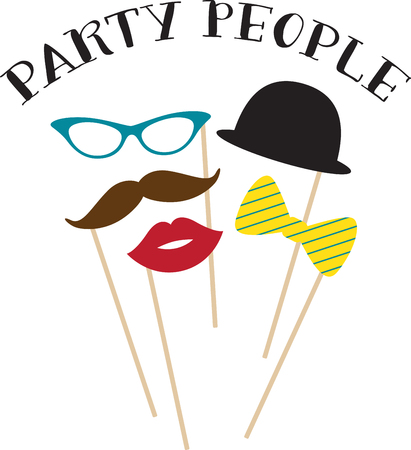 provide: These seductive props provide a subtle disguise, an unforgettable look and a statement of elegance & fun to your party!  Celebrate with this design on your fun projects! Illustration