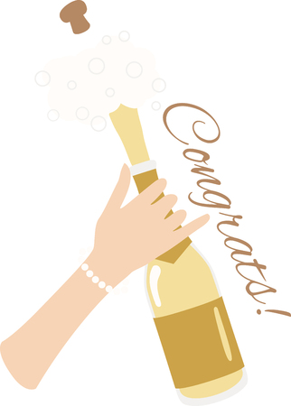 champagne pop: Toast to good health and cheer! Ring in the New Year with this perfect design on cocktail napkins and personalized gifts for loved ones! Illustration