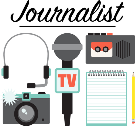 These occupational designs are terrific on towels, shirts, tote bags, aprons, and more!  Journalists will appreciate a gift embroidered with this design! Illusztráció