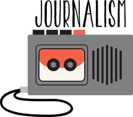 reporters: These occupational designs are terrific on towels, shirts, tote bags, aprons, and more!  Reporters will appreciate a gift embroidered with this design. Illustration