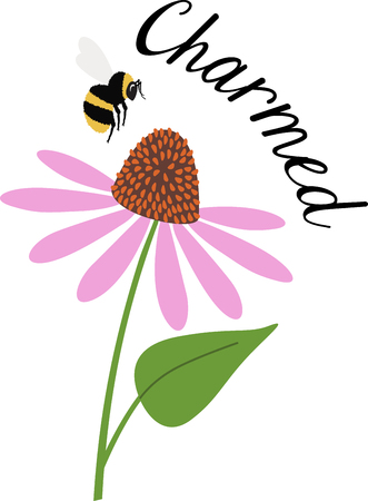 Spring is in the air with this lovely bee and coneflower design. This will look great on t-shirts, hand towels, throw pillows, tote bags and more.