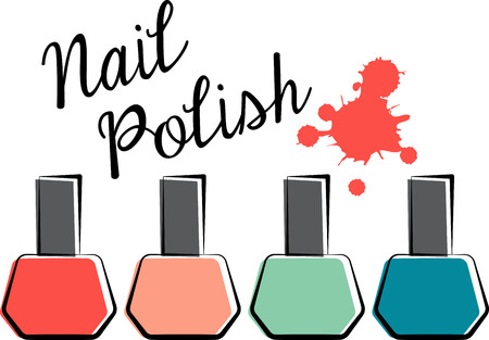 cosmetic lacquer: Girls of all ages will love this nail polish design. This will look great on cosmetic bags, throw pillows, hand towels, tote bags and more.