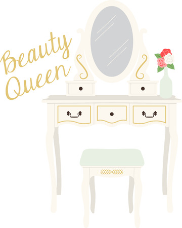 vanity: Personalize your project with this lovely beauty vanity design. This will look great on wall hangings, tote bags and more.