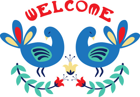 Personalize your project with this lovely bird floral border design. This will look great on t-shirts, sweaters, hand towels, throw pillows, tote bags and more. 向量圖像