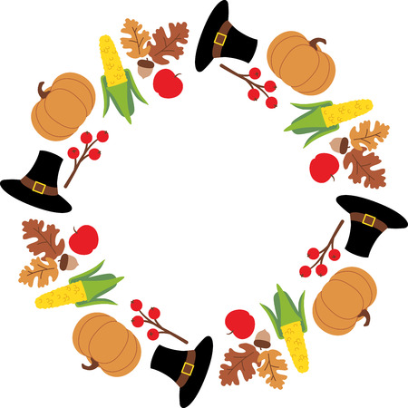 Personalize your fall project with this lovely Thanksgiving Wreath design. This will look great on placemats, hand towels, wall hangings, throw pillows, tote bags and more. Illustration