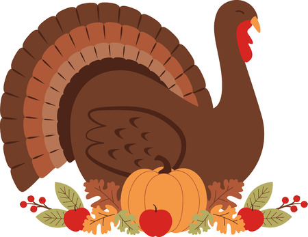 Gobble gobble. Celebrate Thanksgiving with this lovely turkey design. This will look great on placemats, sweaters, hand towels, throw pillows, tote bags and more. Illustration
