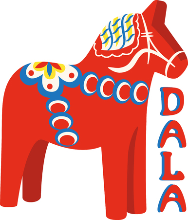 Show off your love of horses with this neat Swedish Dala design. This will look great on t-shirts, banners, throw pillows, tote bags and more.