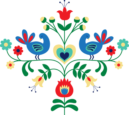 Personalize your project with this lovely bird floral border design. This will look great on t-shirts, sweaters, hand towels, throw pillows, tote bags and more. Illustration