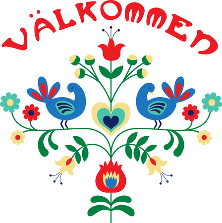 Welcome friends and family with this lovely Valkommen floral border design. This will look great on banners, hand towels, throw pillows, tote bags and more. 向量圖像