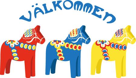 이 깔끔한 달라 (Dala border) 디자인으로 말의 사랑을 과시하십시오. 이것은 티셔츠, 현수막, 베개, 토트 백 등에서 멋지게 보일 것입니다.