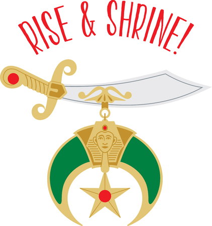 Rise & Shrine with this Fun, Fellowship, Philanthropy sword design. This will look great on t-shirts, hoodies, banners, tote bags and more. Иллюстрация