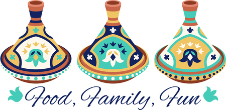 terra: Food, family, fun with this neat Terra Cotta Tagine design. This will look great on placemats, hand towels, wall hangings, tote bags and more. Illustration