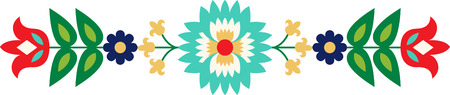 folk art: Personalize your project with this lovely Folk Art Flower Border design. This will look great on placemats, hand towels, throw pillows, tote bags and more. Illustration