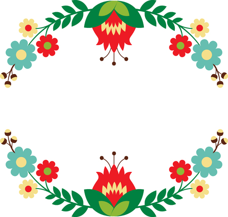 Personalize your project with this lovely Folk Art Wreath design. This will look great on placemats, banners, throw pillows, tote bags and more.