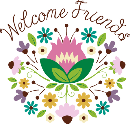 Welcome friends and family with this lovely bouquet design. This will look great on banners, placemats, hand towels, throw pillows, tote bags and more.
