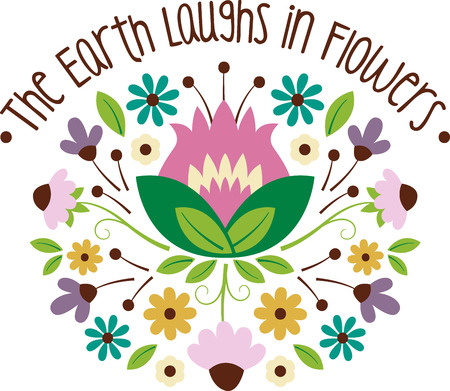 laughs: Personalize your project with this lovely The Earth Laughs In Flowers design. This will look great on t-shirts, sweaters, hand towels, throw pillows, tote bags and more. Illustration