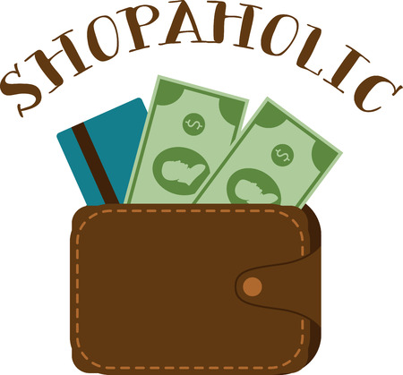 billfold: Shopaholics will love this Big Spender design. This will look great on t-shirts, hoodies, banners, tote bags and more. Illustration