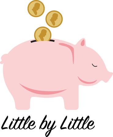 Leer uw kinderen de waarde van een dollar met dit schattige spaarpot design. Dit zal groot op t-shirts, portemonnees, kussens, tassen en nog veel meer.