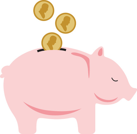 Teach your children the value of a dollar with this adorable piggy bank design. This will look great on t-shirts, coin purses, throw pillows, tote bags and more. Illustration