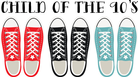nineties: Step back in time with this awesome grunge shoes design. This will look great on t-shirts, hoodies, jackets, tote bags and more. Illustration