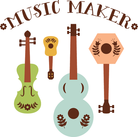 folk art: Tune up your clothes and accessories with this neat folk art instruments design. Illustration
