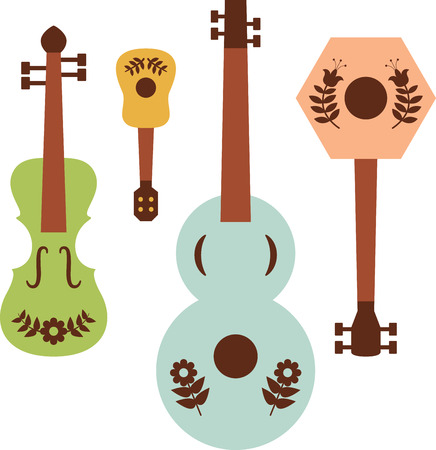 Tune up your clothes and accessories with this neat folk art instruments design. 向量圖像