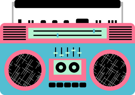 boom box: Kids of the 90s will love this awesome boom box design. This will look great on t-shirts, hoodies, jackets, banners, tote bags and more.