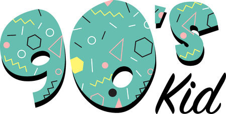Kids of the 90s will love this awesome flashback design. This will look great on t-shirts, hoodies, jackets, banners, tote bags and more.