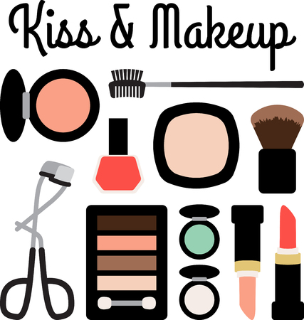 Girls of all ages will love this variety of makeup design. This will look great on cosmetic bags, banners, throw pillows, tote bags and more.