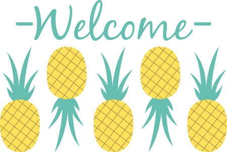 Personalize your project with this sweet Pineapple Fruit Border design. This will look great on placemats, hand towels, throw pillows, tote bags and more.