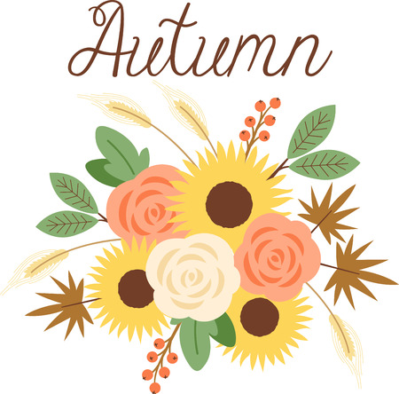 fall harvest: Personalize your seasonal project with this lovely Fall Harvest Bouquet design. This will look great on placemats, hand towels, throw pillows, tote bags and more.