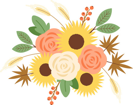 Personalize your seasonal project with this lovely Fall Harvest Bouquet design. This will look great on placemats, hand towels, throw pillows, tote bags and more.