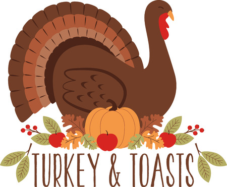 Gobble gobble! Celebrate Thanksgiving with this lovely turkey design. This will look great on placemats, sweaters, hand towels, throw pillows, tote bags and more.