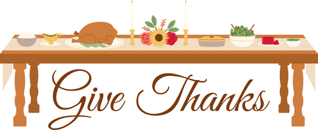 placemats: Celebrate Thanksgiving with this lovely table setting design. This will look great on banners, placemats, tote bags and more.