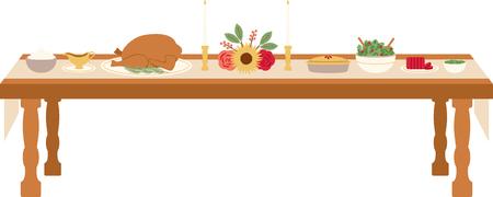 Feiern Sie Danksagung mit diesem schönen gedeckten Tisch Design. Das wird großartig aussehen Banner, Platzdeckchen, Tragetaschen und vieles mehr. Vektorgrafik