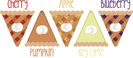 Show off your love of pie with this sweet design. This will look great on placemats, aprons, wall hangings, tote bags and more. Vectores