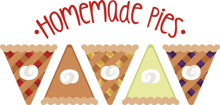 Show off your love of pie with this sweet design. This will look great on placemats, aprons, wall hangings, tote bags and more. Illustration