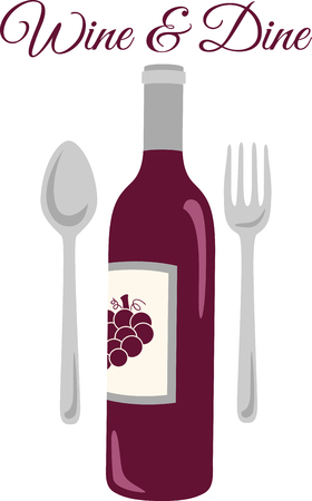 flatwares: Show off your love of wine with this neat bottle design. This will look great on aprons, banners, placemats, tote bags and more. Illustration