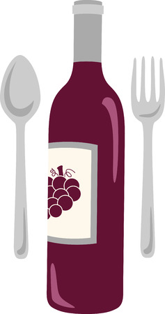 vino: Show off your love of wine with this neat bottle design. This will look great on aprons, banners, placemats, tote bags and more. Illustration